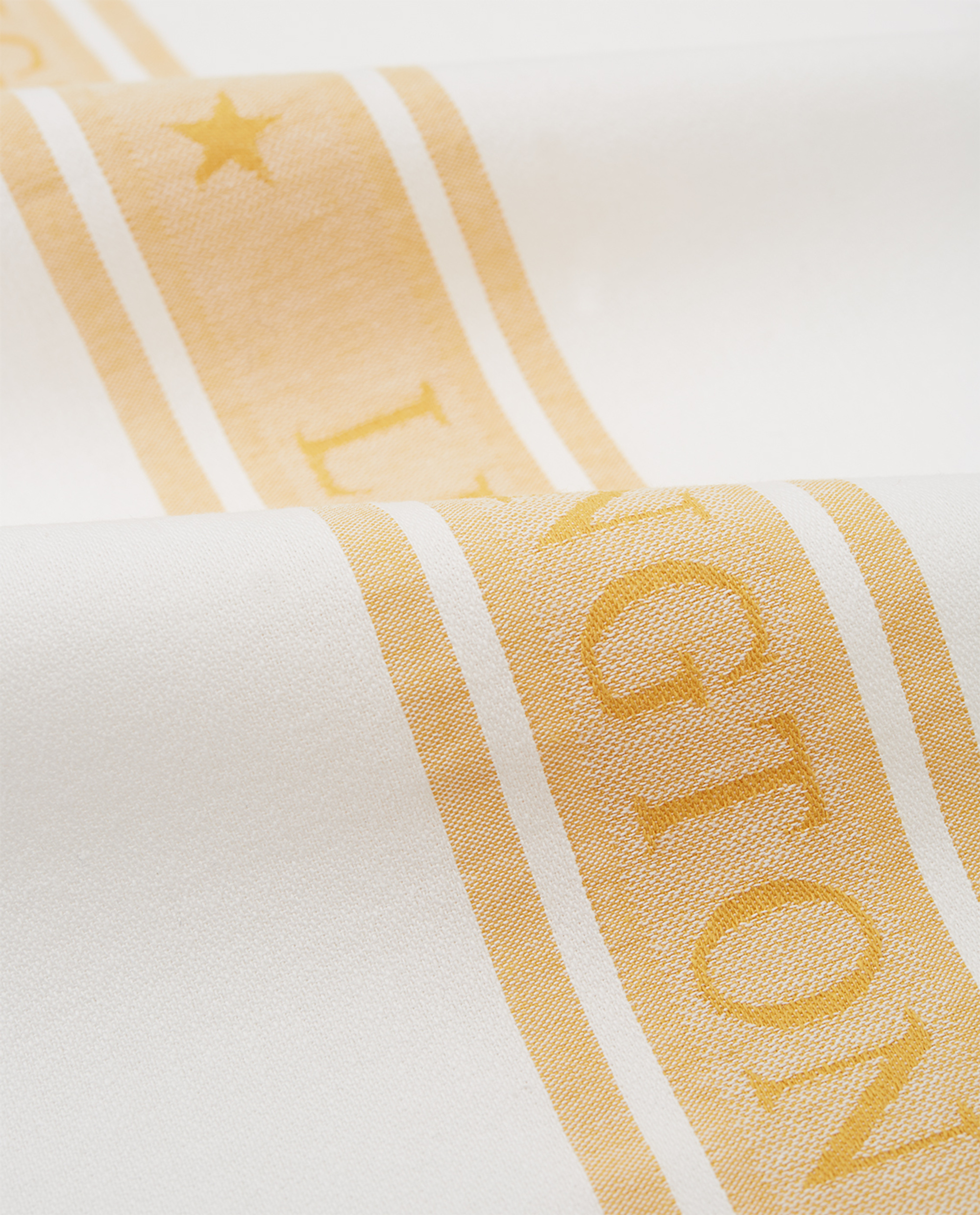 Icons Cotton Jacquard Star Kitchen Towel, White/Yellow