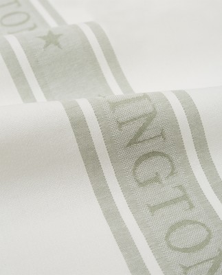 Icons Cotton Jacquard Star Kitchen Towel, White/Sage Green
