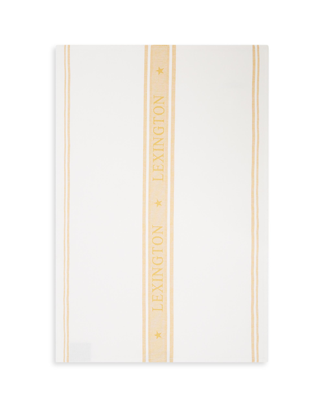 Icons Cotton Jacquard Star Kitchen Towel, White/Yellow