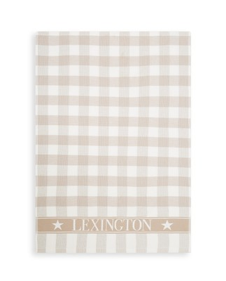 Icons Checked Cotton Terry Kitchen Towel, Beige/White
