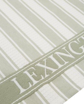 Icons Cotton Twill Waffle Striped Kitchen Towel, Sage Green/White