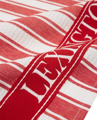 Icons Cotton Twill Waffle Striped Kitchen Towel, Red/White