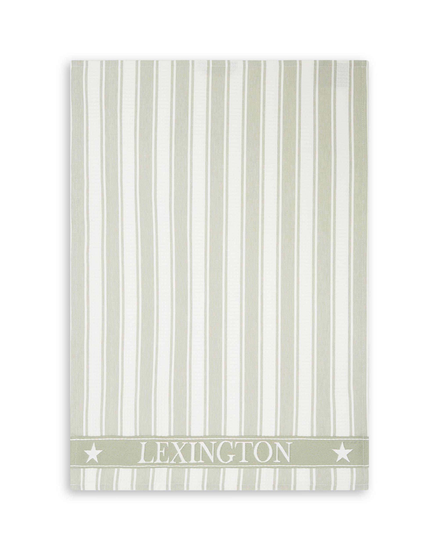 Icons Cotton Twill Waffle Striped Kitchen Towel, Sage Green/White