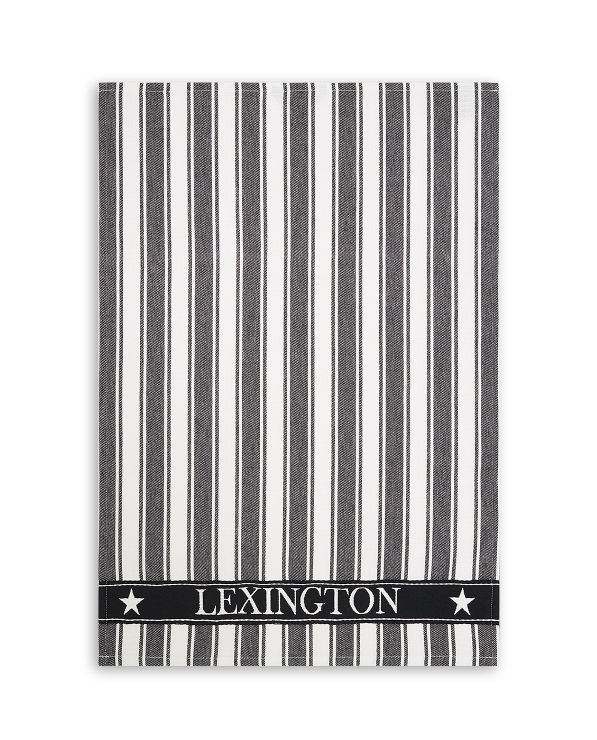 Icons Cotton Twill Waffle Striped Kitchen Towel, Black/White