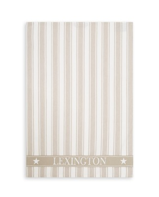 Icons Cotton Twill Waffle Striped Kitchen Towel, Beige/White