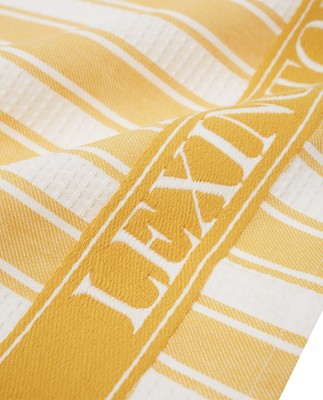Icons Cotton Twill Waffle Striped Kitchen Towel, Yellow/White