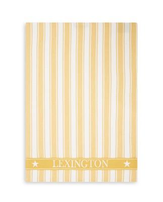 Icons Cotton Twill Waffle Striped Kitchen Towel, Yellow/White