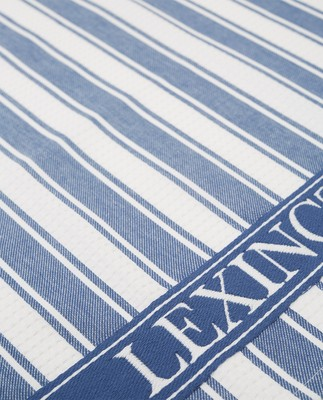 Icons Cotton Twill Waffle Striped Kitchen Towel, Blue/White