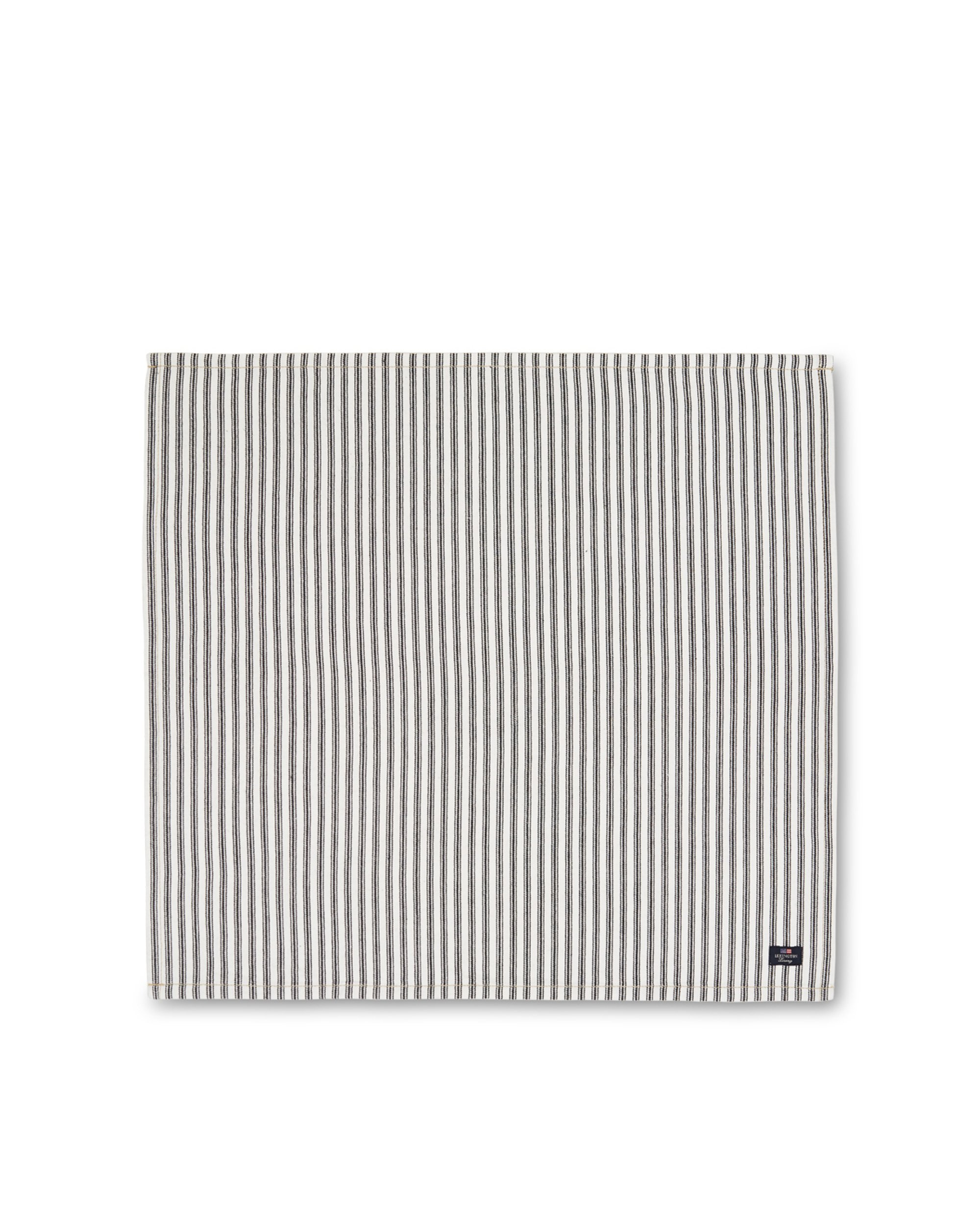 Icons Cotton Herringbone Striped Napkin, Black/White
