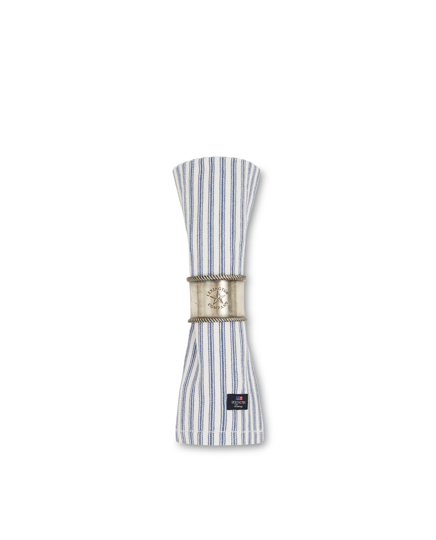Icons Cotton Herringbone Striped Napkin, Blue/White