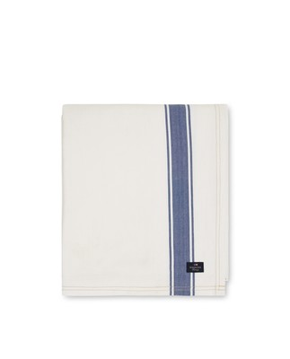 Icons Cotton Herringbone Striped Tablecloth, White/Blue