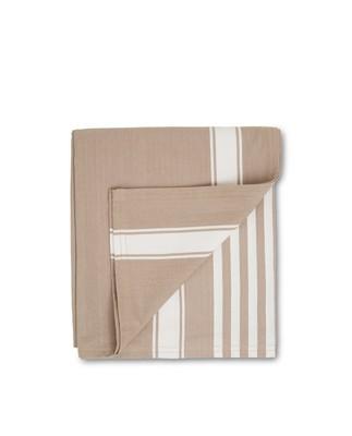 Icons Cotton Herringbone Striped Tablecloth, Beige/White