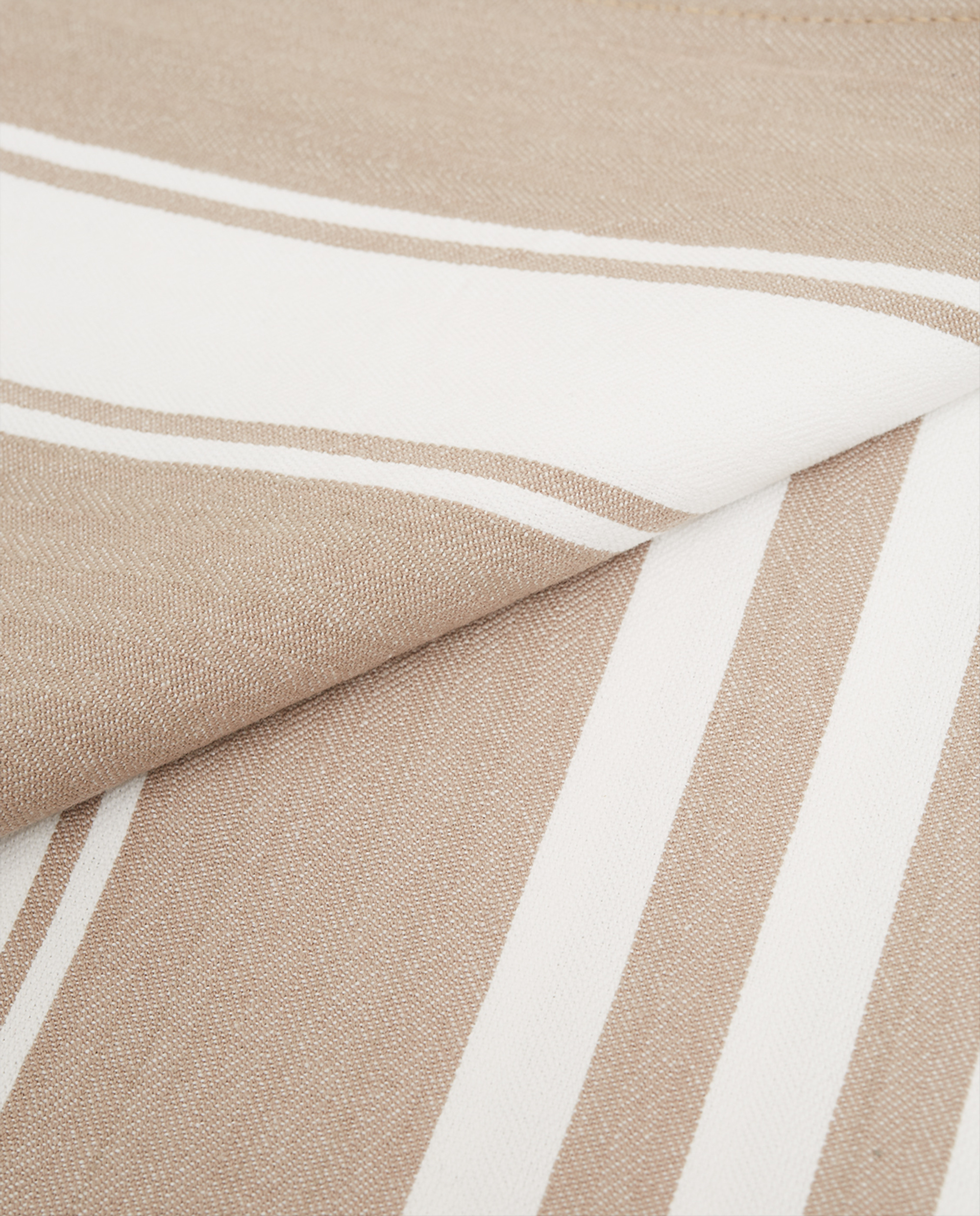 Icons Cotton Herringbone Striped Tablecloth, Beige/White
