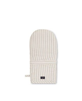 Icons Cotton Herringbone Striped Mitten, Beige/White