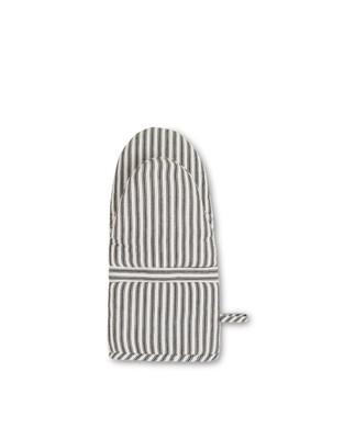 Icons Cotton Herringbone Striped Mitten, Black/White