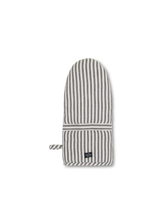 Icons Cotton Herringbone Striped Mitten, Black/White