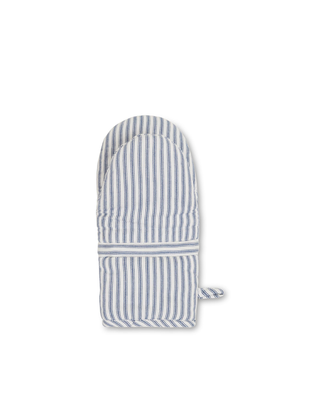 Icons Cotton Herringbone Striped Mitten, Blue/White