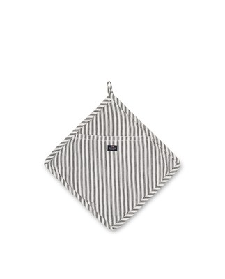 Icons Cotton Herringbone Striped Potholder, Black/White