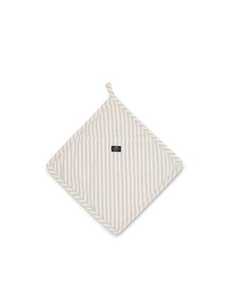 Icons Cotton Herringbone Striped Potholder, Beige/White