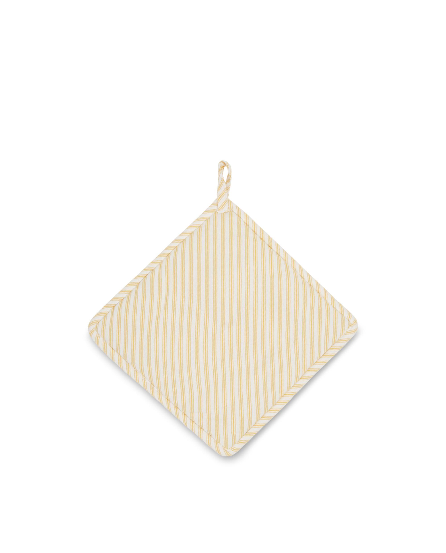 Icons Cotton Herringbone Striped Potholder, Yellow/White