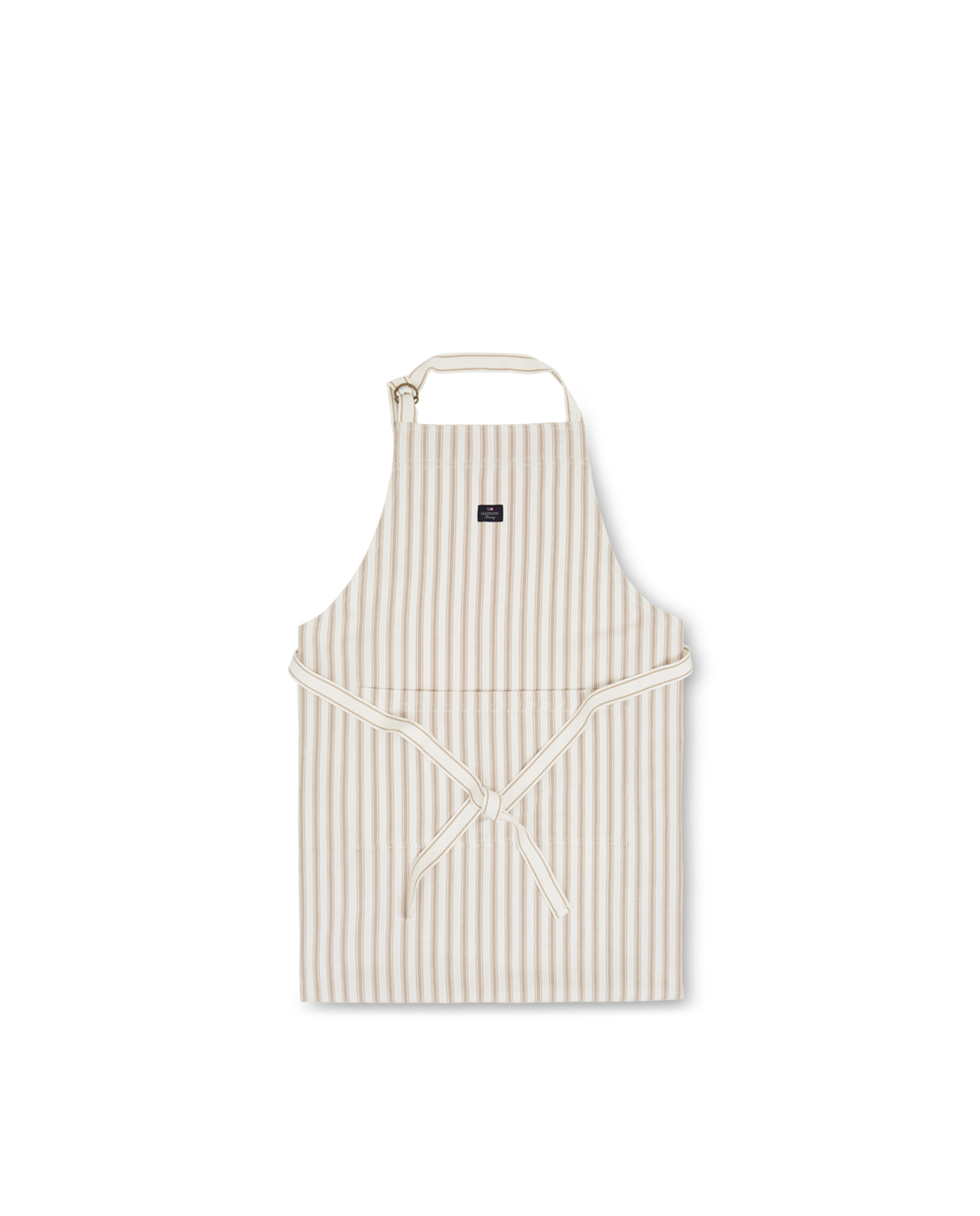 Icons Cotton Herringbone Striped Apron, Beige/White