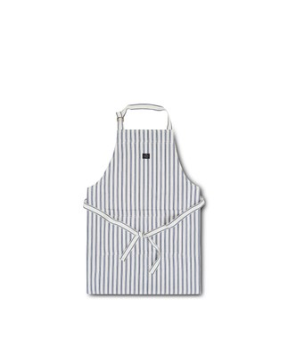 Icons Cotton Herringbone Striped Apron, Blue/White