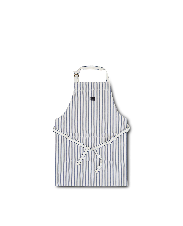 Icons Cotton Herringbone Striped Apron, Blue/White
