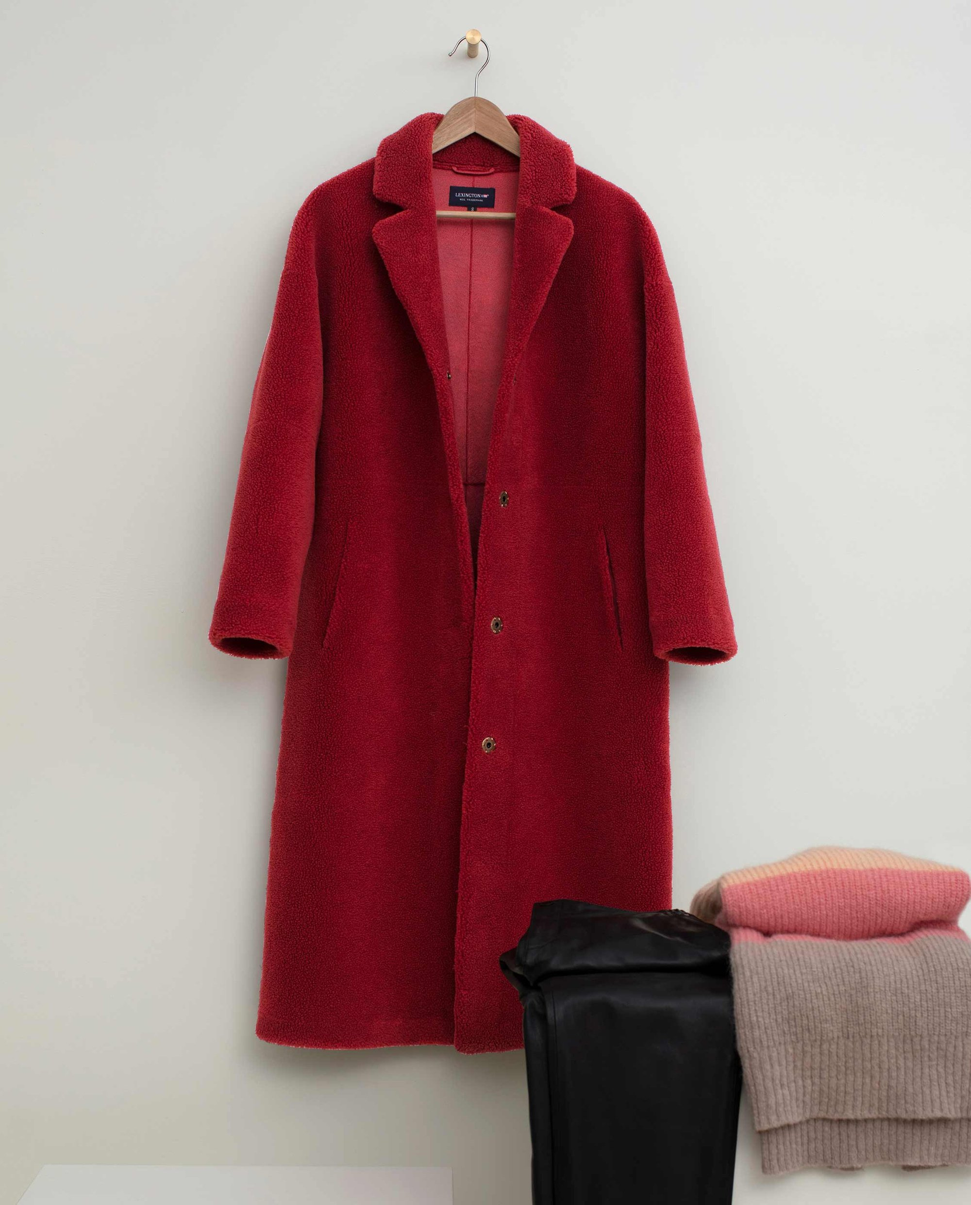 Judith Wool Blend Coat, Red