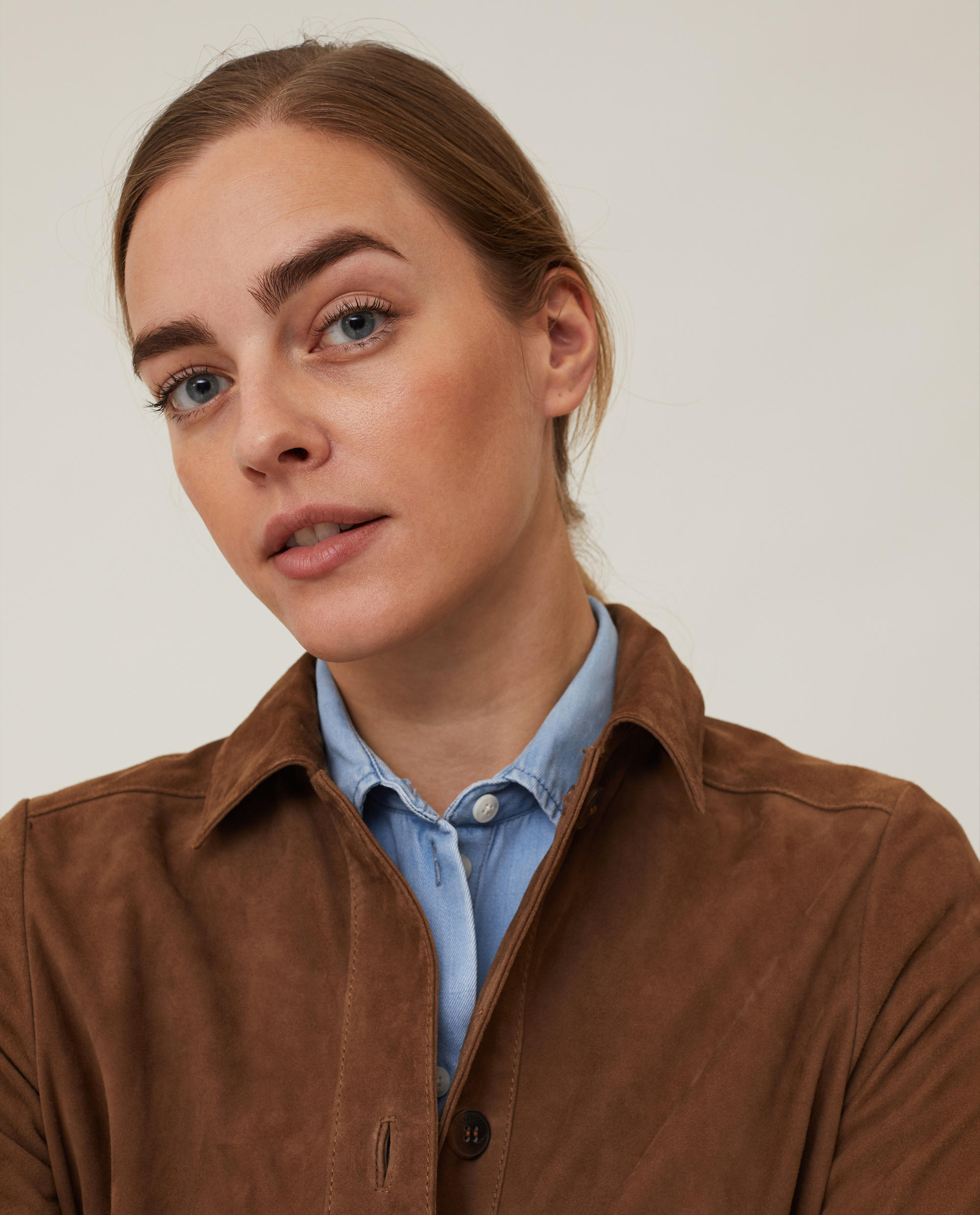 Kathy Suede Worker Shirt, Brown