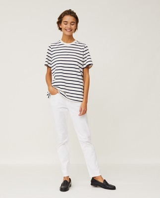 Stephanie Organic Cotton Tee, Blue/White Stripe