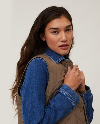 Jane Quilted Vest, Brown
