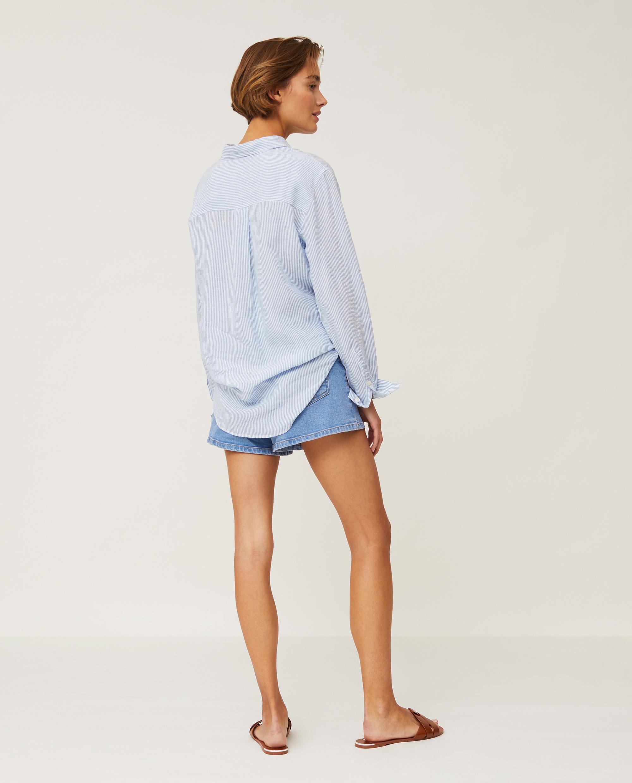 Isa Linen Shirt, Light Blue/White Stripe