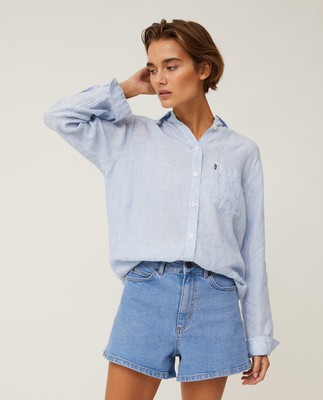 Isa Linen Shirt, Light Blue/White Stripe