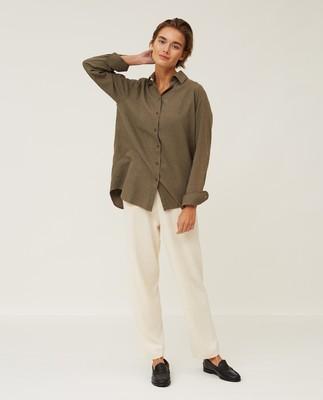 Isa Light Flannel Shirt, Green Melange