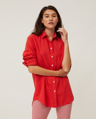 Isa Light Flannel Shirt, Red Melange