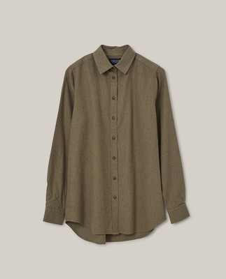 Isa Light Flannel Shirt, Green Melange