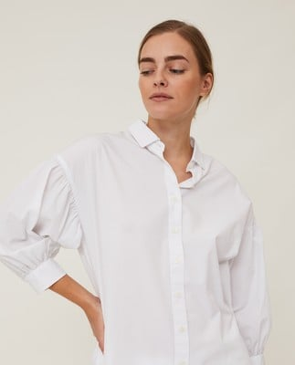 Maria Long Poplin Shirt, White