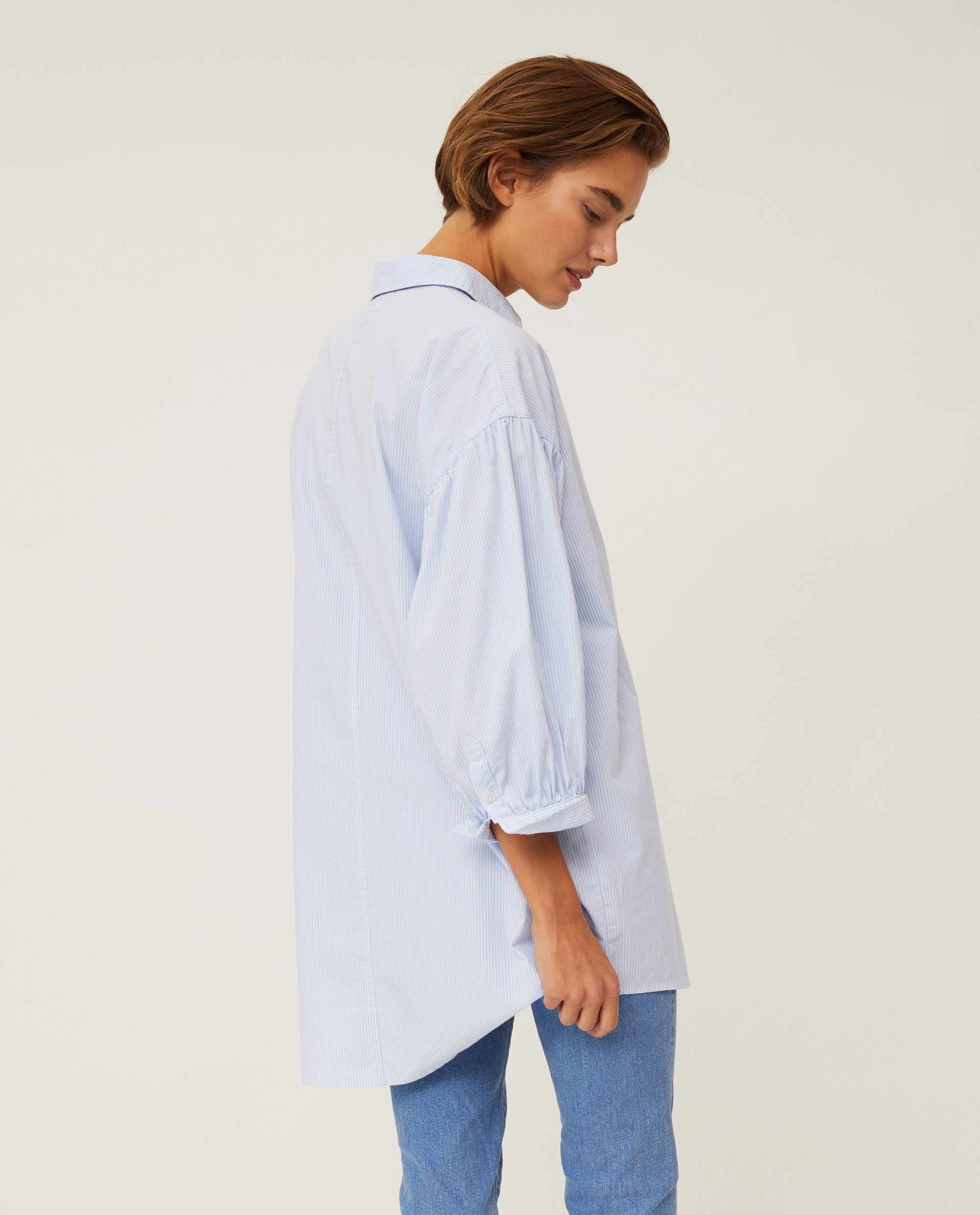Maria Long Poplin Shirt, Light Blue/White Stripe