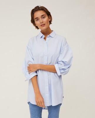 Maria Long Poplin Shirt, Light Blue/White Stripe