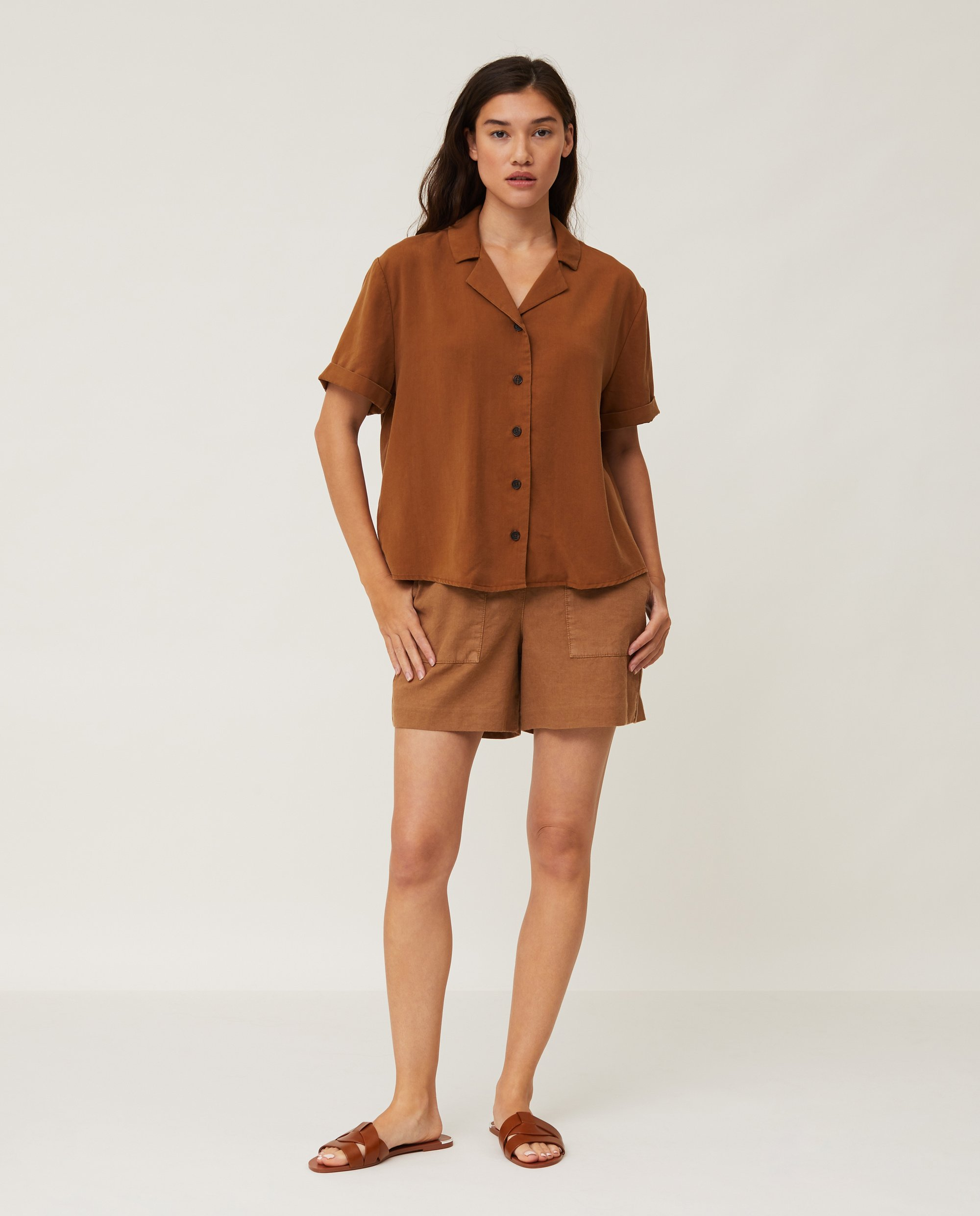 Eva Short Sleeve Lyocell Shirt, Brown