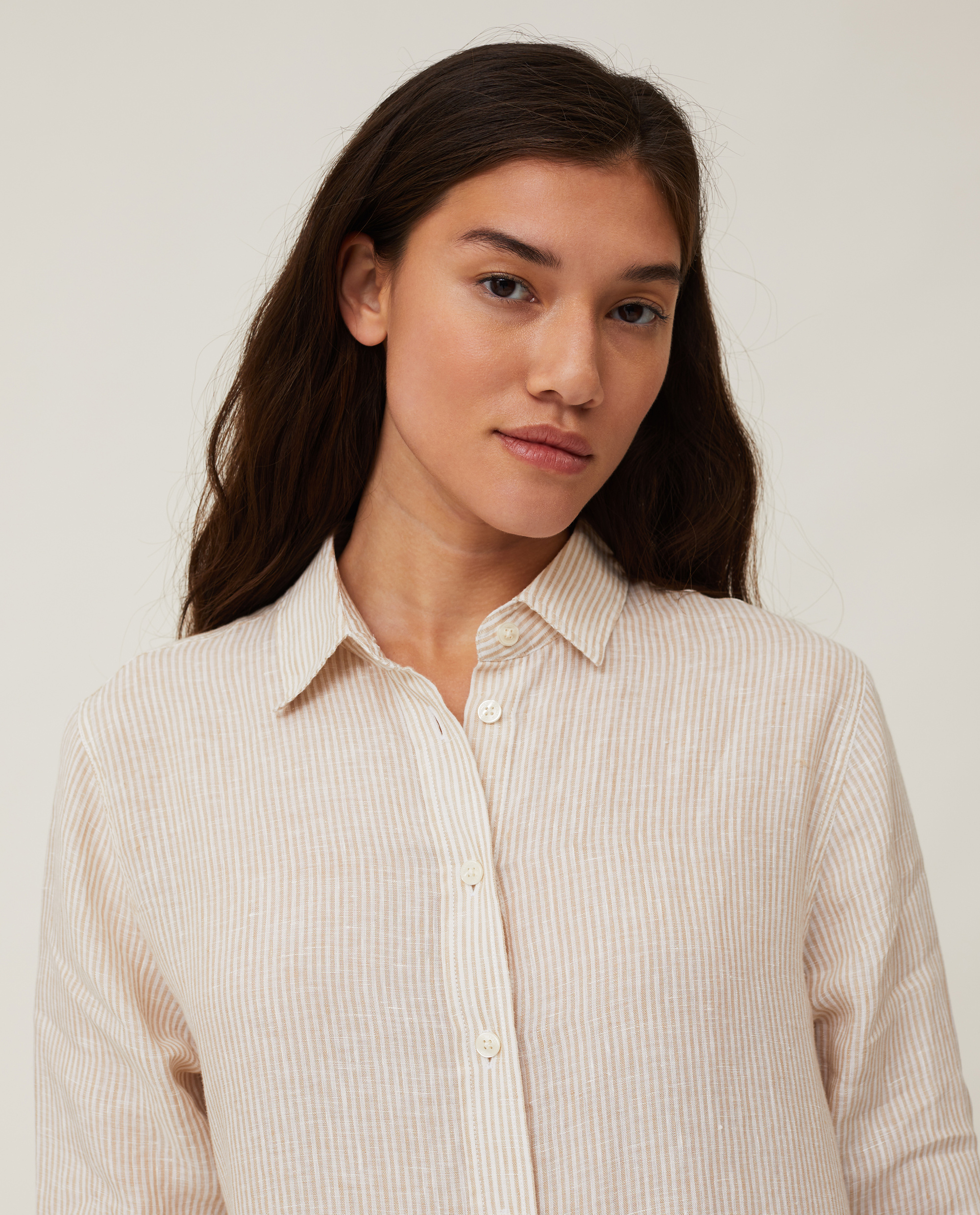 Isa Linen Shirt Dress, Beige/White Stripe