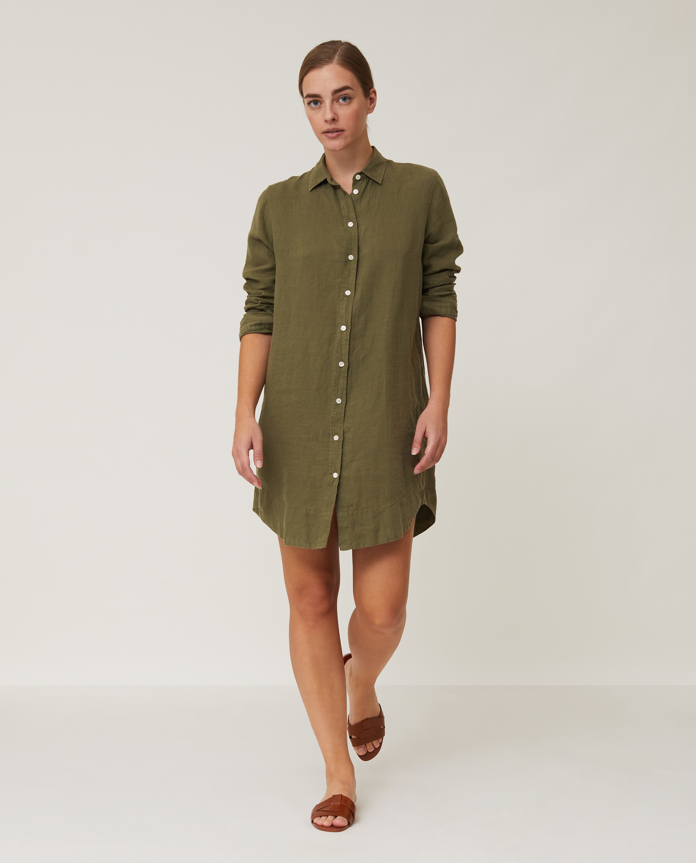 Isa Linen Shirt Dress, Green