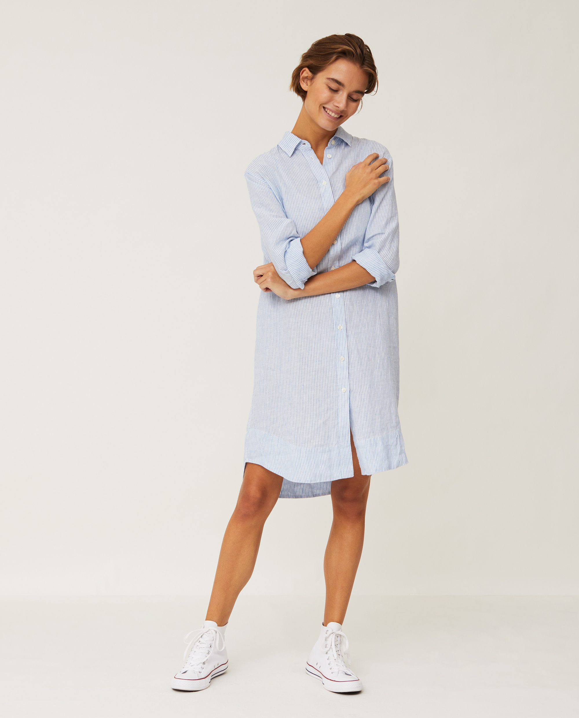 Isa Linen Shirt Dress, Light Blue/White Stripe