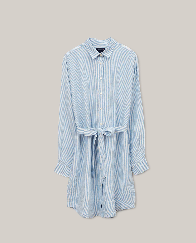 Isa Linen Shirt Dress, Light Blue/White Stripe