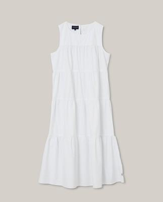 Sofie Tiered Poplin Dress, White