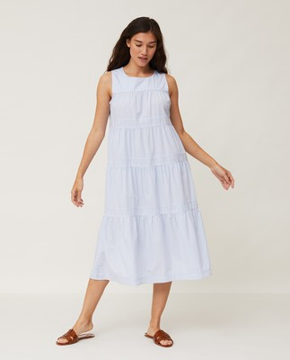 Sofie Tiered Poplin Dress, Light Blue/White Stripe