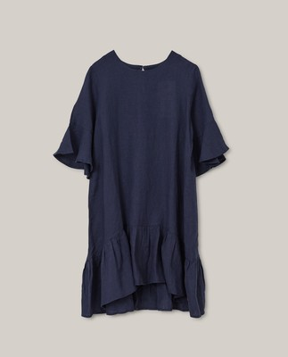 Camille Linen Dress, Dark Blue