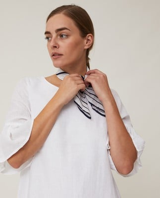 Camille Linen Dress, Offwhite