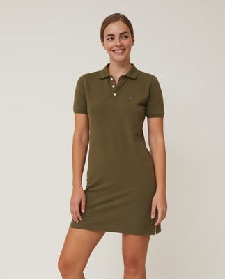 Laura Pique Polo Dress, Green