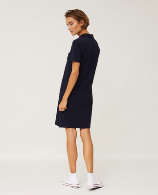 Laura Pique Polo Dress, Dark Blue